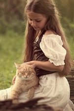 Preview iPhone wallpaper Cute little girl and cat