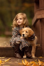 Preview iPhone wallpaper Cute little girl and retriever, puppy, autumn, leaves