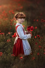 Preview iPhone wallpaper Cute little girl, freckles, red poppy flowers