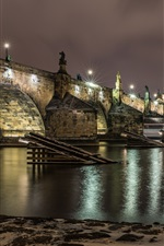 Preview iPhone wallpaper Czech Republic, Prague, bridge, river, lights, night