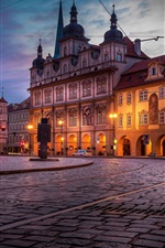 Preview iPhone wallpaper Czech Republic, Prague, city at night, houses, road, lights