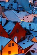 Czech Republic, night, roof, houses, snow, winter
