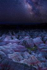 Preview iPhone wallpaper Danxia Landform, mountains, night, stars, China