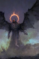 Darkness, monster, wings, art painting