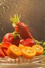 Delicioso morango, frutas, limão, gotas de água