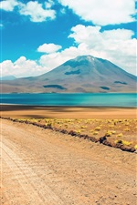 Preview iPhone wallpaper Desert, mountain, road, lake, Atacama, Chile