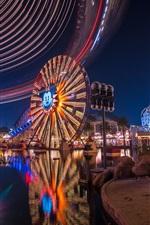 Preview iPhone wallpaper Disneyland, ferris wheel, park, night, lights
