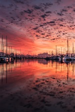 Preview iPhone wallpaper Dock, yachts, red sky, sunset, lake