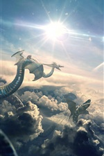 Preview iPhone wallpaper Dragon, flight, clouds, planet, art picture