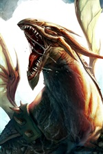 Preview iPhone wallpaper Dragon flying, wings, art picture