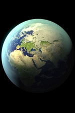 Preview iPhone wallpaper Earth, planet, black background