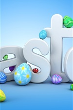 Preview iPhone wallpaper Easter, colorful eggs, blue background, creative design
