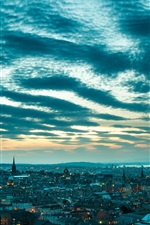 Edinburgh, Scotland, cityscape, lights, dusk