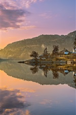 Preview iPhone wallpaper Egersund, Norway, mountains, trees, houses, lake, water reflection