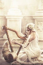 Elf girl play harp