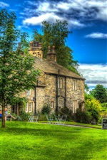 Preview iPhone wallpaper England, Downham, house, trees, meadow