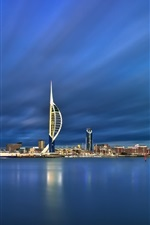 Preview iPhone wallpaper England, Portsmouth, harbour, blue sea, dusk