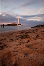 Preview iPhone wallpaper England, St. Mary's Lighthouse, coast, beach, sea, dusk