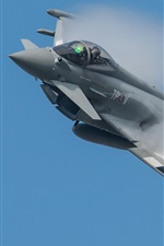 Preview iPhone wallpaper Eurofighter Typhoon multipurpose fighter, smoke
