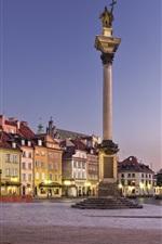 미리보기 iPhone 배경 화면 유럽, 폴란드, 바르샤바, 도시, 황혼, 조명