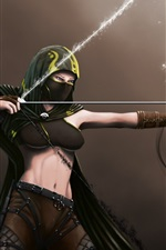 Preview iPhone wallpaper Fantasy girl, abdomen, bow, archer, mask