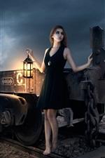 Fantasy girl, train, lantern