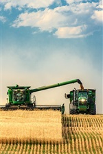Preview iPhone wallpaper Farm field, tractor, harvesters