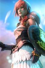 Preview iPhone wallpaper Final Fantasy XIII, Lightning, pink hair girl, sword, shield