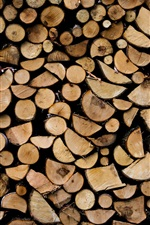 Preview iPhone wallpaper Firewood, wood background