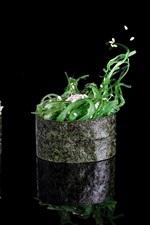 Preview iPhone wallpaper Food, nori, caviar, sesame, vegetable, black background