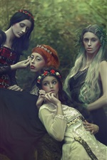 Preview iPhone wallpaper Four girls, forest, makeup, dream