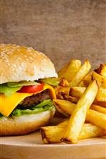 French fries, hamburger, cheese, food