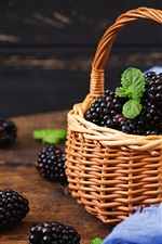 Preview iPhone wallpaper Fresh blackberry, basket, table