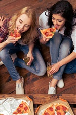 Preview iPhone wallpaper Friends eating pizza