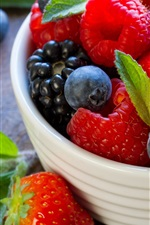 Preview iPhone wallpaper Fruit, delicious, strawberry, blueberry, bowl