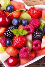 Preview iPhone wallpaper Fruit salad, berries, love heart bowl