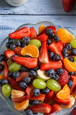 Preview iPhone wallpaper Fruit salad, grapes, strawberry, blueberry, orange