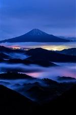 Preview iPhone wallpaper Fuji Mount, night, mountains, fog, Japan
