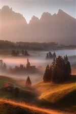 Preview iPhone wallpaper Germany, Alps, morning, fog, grass, trees, houses