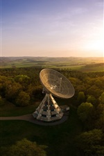 Preview iPhone wallpaper Germany, Astropeiler, Stockert Radio Telescope, trees, sunset