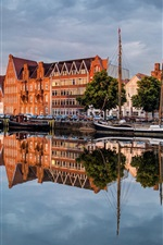 Preview iPhone wallpaper Germany, Lubeck, beautiful city, river, cars, houses