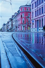 Preview iPhone wallpaper Germany, rainy day, city, street, wet ground