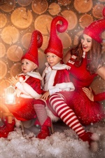 Preview iPhone wallpaper Girl and childs, Christmas dress, dog, snow, happy