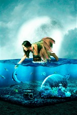 Preview iPhone wallpaper Girl and fish, aquarium, sea, creative design