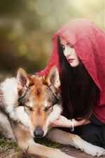 Preview iPhone wallpaper Girl and wolf, red scarf