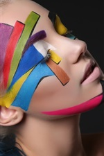 Preview iPhone wallpaper Girl, art photography, face, colors, black background