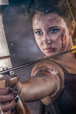 Preview iPhone wallpaper Girl, bow, arrow, wound, blood