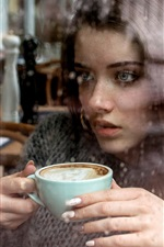 Preview iPhone wallpaper Girl drink coffee, window