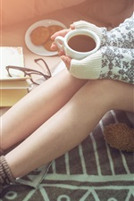 Preview iPhone wallpaper Girl legs, warm coffee, sweater, book, toy bear