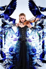 Preview iPhone wallpaper Girl magic, play violin, blue birds, creative picture